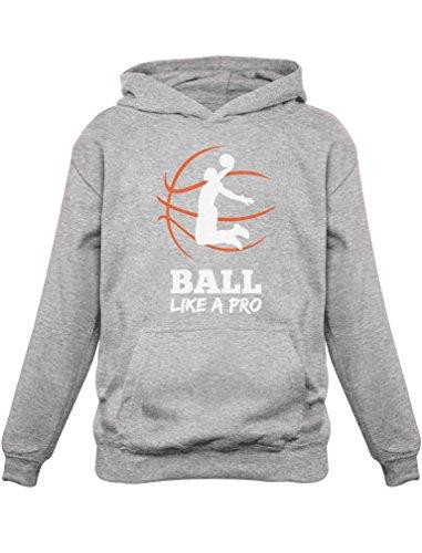 joueur de Basketball -Ball Like A PRO Sweatshirt Capuche Enfant 10A Gris Chiné
