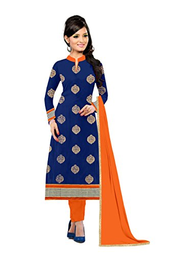 Gopi Fashion Summer Collection Navy Blue Cotton with Embroidery craft-work Un-Stitched Salwar Suite Dress Material.