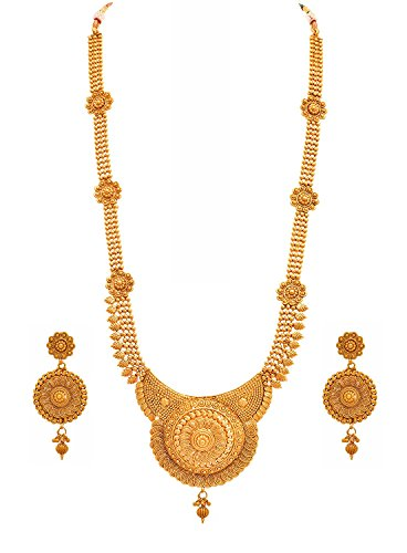 Meenaz Jewellery Traditional Long haram Rani Set for womens girls with Ear rings for girls party wear Traditional One gram Copper Pearl Kundan Pendant Necklace Set Wedding Bridal Sarees Stylish Earrings Womens,Girls- Jewellery earring set-187