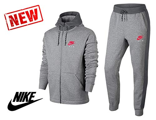 Nike - Nike Tuta Uomo Cotone Felpato Grigia - M, Grau -