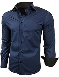 Herren Kontrast Basic Hemden Business Freizeit Langarm Anzug Hochzeit Hemd  R-44 9ec4782d90