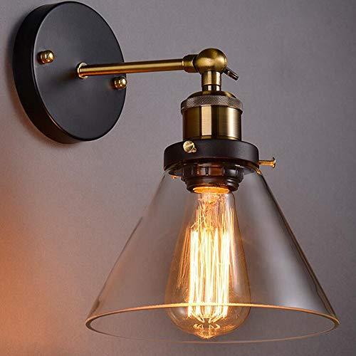 Maxmer Apliques de Pared Retro Lámpara de Pared Luz Vintage Industrial Casquillo E27 Color Cristal...