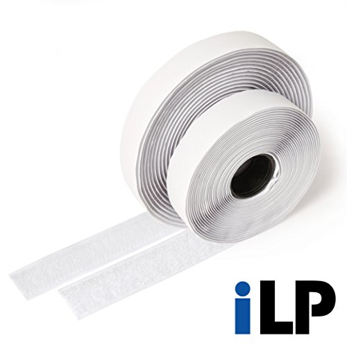 ilp cinta adhesivo de velcro, blanco–longitud 5m, ancho aprox. 20mm–Montaje seguro, extra forte, para trabajos de casa, Fai Da Te, trabajos manuales, Macho y Hembra
