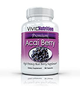 Vivid Nutrition Premium Acai Berry - High Potency, Pure Acai Berries Supplement. All-Natural Diet, Weight Loss, Colon Cleanse. 515mg per capsule - 30 Capsules from Vivid Health Nutrition