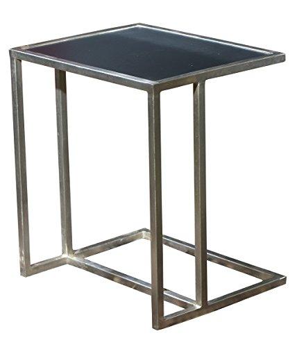 SIT-Möbel Art & Deco 11034-40 Beistelltisch, vernickeltes Roheisen, MDF schwarz, 50 x 40 x 56 cm - Art-deco-möbel