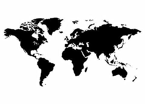Wandtattooladen Wandtattoo - Weltkarte Größe:100x50cm Farbe: grau
