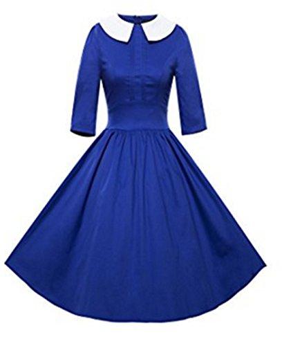 YOGLY Damen Kleide Revers 3/4 Arm Knielang Vintagekleid Abendkleider Brautkleid Cocktailkleid Ballkleid Minikleid Partykleider Blau