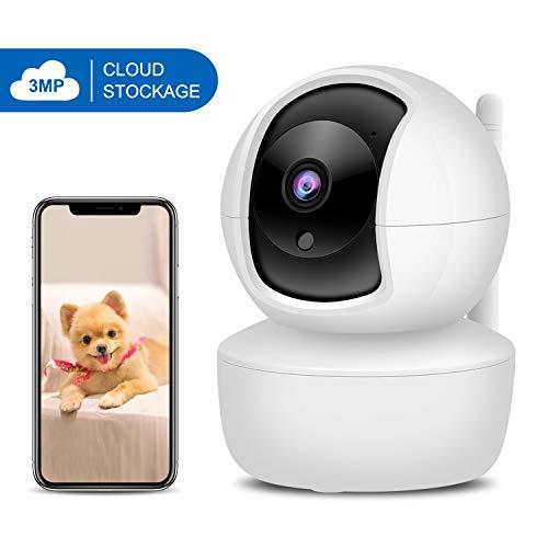 XYFANG 3MP Telecamera di Sorveglianza WiFi, Telecamera IP Wireless con Tilt/Zoom, Rilevamento del Movimento Visione Notturna,Audio a 2 Vie, per Casa/Bambini/Animali domestici