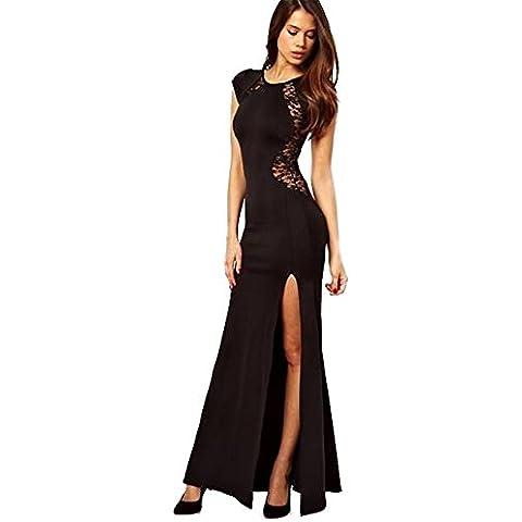 Mujeres chica Spritech™ sin mangas vestido largo Sexy de encaje hueco ajustado para falda, negro, medium