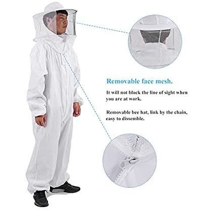 Zerodis Beekeeping Suit Beekeeping Protective Equipment Bee Keeping Full Body Cloth with Veil Hood Total Protection for Professional & Beginner Beekeepers(XL) 3