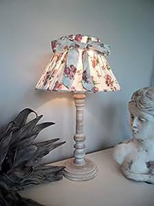 romantische tischleuchte tisch lampe holz 34 cm offwhite mit rosenmotiv landhaus shabby chic. Black Bedroom Furniture Sets. Home Design Ideas