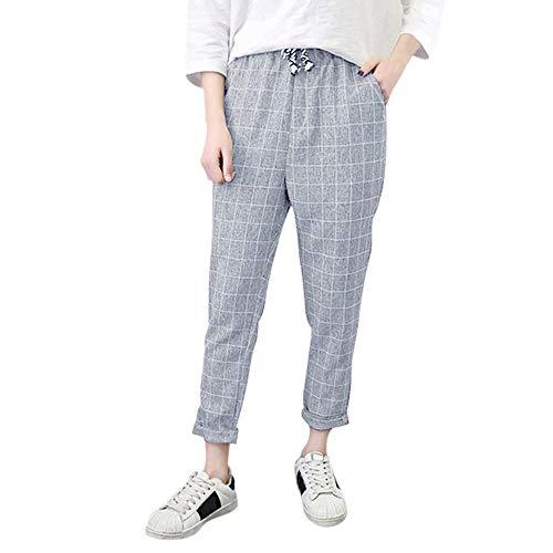 ITISME Jeanshosen Women Casual Plaid Elastic Waist Lace Up Loose Plus Size Full Length PantsHerren Designer Cargo Shorts Cargoshorts Kurze Hose Gürtel (small, Grau1)