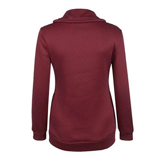 Ouneed® Femmes d'hiver Zipper Blouse Hoodie Sweat à capuche Manteau Veste Pull Vin rouge