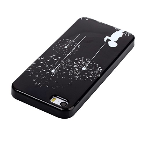 UltraSlim Case per iphone 6 4.7, Solido Nero Custodia Lucida Per iphone 6S, Ukayfe Black Back Series Custodia Morbido TPU Gel Silicone Protettivo Skin Protettiva Shell Case Cover per iphone 6/6S 4.7  fuochi dartificio