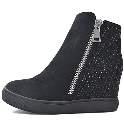SAlin Sneaker-Wedges in Schwarz oder Beige (38, Schwarz) (Secret Wedge Sneakers)