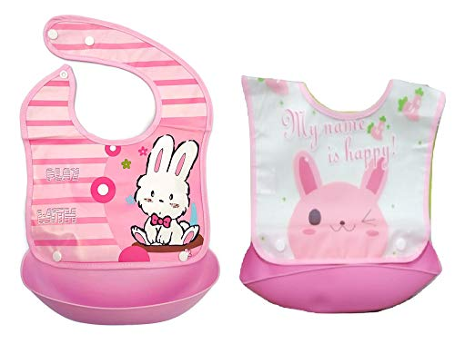 Gilli Shopee Waterproof Silicone Roll up Washable Crumb Catcher Baby Feeding Eating Bibs with Food Catching Pocket (Pink)