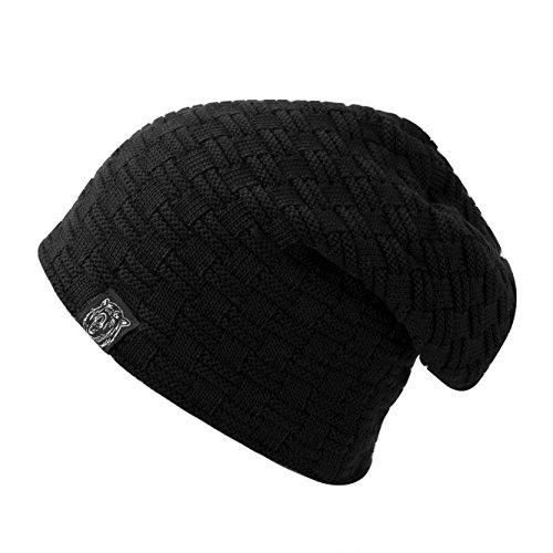 Muster Stricken-wolle-skull-cap (Yidarton Unisex Beanie Acryl Knit überlange Winter Skimütze gerippt Mütze Cap Beany (Schwarz))