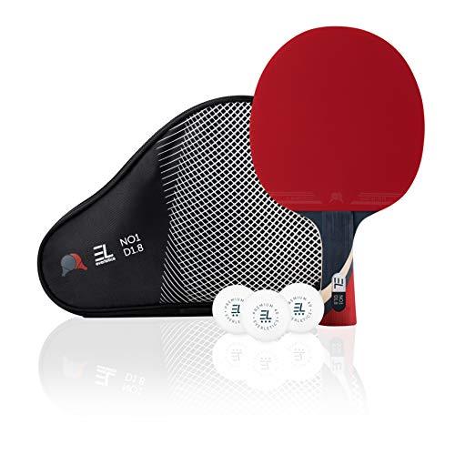 Everletics Tischtennis Set - 1 x Tischtennisschläger (1,8mm Schwamm) und 3-Stern-Bälle, 1er Set