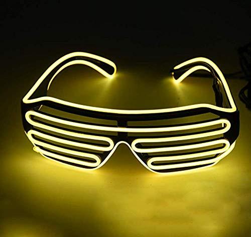LED-Neonbrille – leuchtende DJ-Kostüme, blinkende LED-Sonnenbrille, Neonbrillen, Partyzubehör, gelb