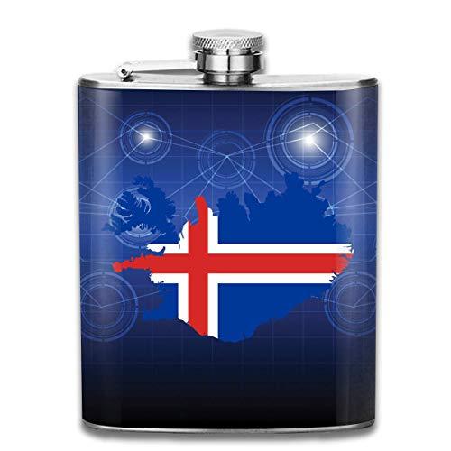 deyhfef Flaggen-Karte von Island Flachmann-Taschen-Edelstahl-Kolben, 7 Unzen
