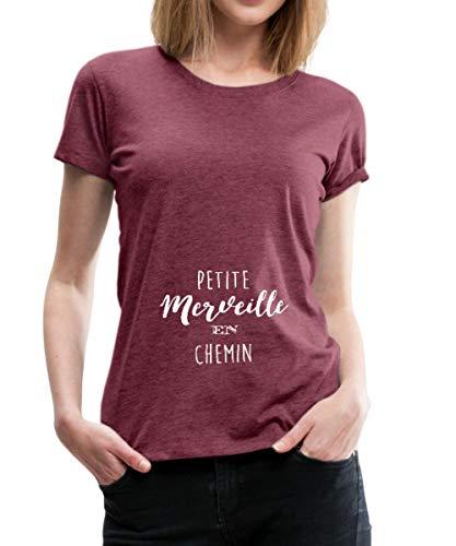 Grossesse Enceinte Petite Merveille en Chemin T-Shirt Premium Femme, S (36), Rouge Bordeaux chiné