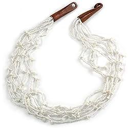 Avalaya - Collar de Cuentas de Cristal Blanco de Nieve étnico, Piedra semipreciosa con Cierre de Gancho de Madera, 60 cm de Largo