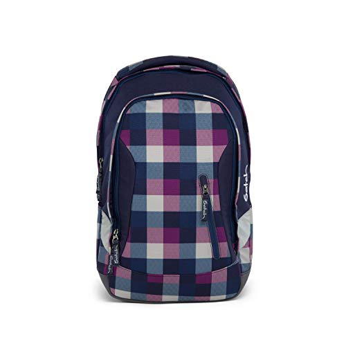 SATCH Berry Carry Schulrucksack, 45 cm, 24 L, Purple Blue Checks