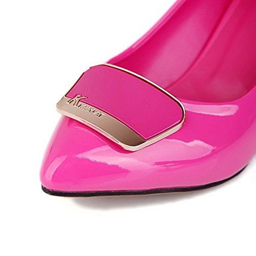 VogueZone009 Donna Tirare Tacco Medio Luccichio Puro Scarpe A Punta Ballerine Pesca