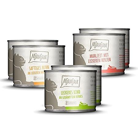 MjAMjAM – Premium Nassfutter für Katzen – Mixpaket 1 – Huhn, Rind, Herzen, 6er Pack (6 x 200 g), getreidefrei mit extra…