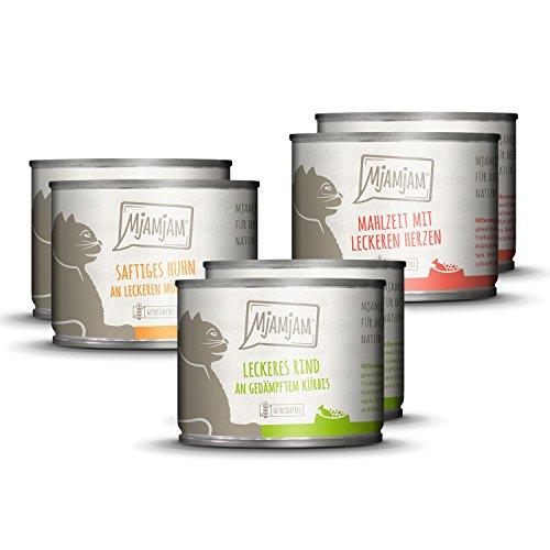 MjAMjAM - Premium Nassfutter für Katzen - Mixpaket I - Huhn, Rind, Herzen, 6er Pack (6 x 200 g), getreidefrei mit extra viel Fleisch