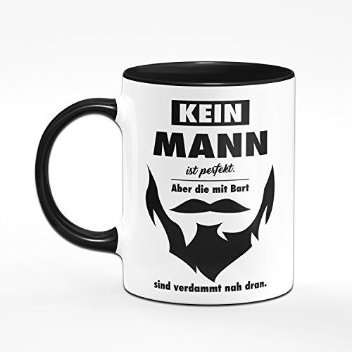 Tasse Kein Mann ist Perfekt. aber die mit Bart Sind Verdammt Nah Dran. Geschenke für Männer mit Bart. Kaffeetasse - 2