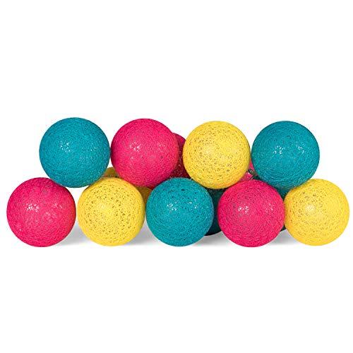 Plaights LED Lichterkette mit 15 Kugeln aus Baumwolle | die Lichterkette mit Textilkugeln ist batteriebetrieben | Textillichterkette mit Timer | Farbe petrol, magenta und gelb -