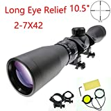 Suphunter Long Eye Relief 2-7x42 Mosin Nagant Scope 1891/30 M39 M44 M38 91/30 Mil-dot Scout Scope Picatinny/Weaver Ring Mount