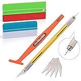 Ehdis Kit applicatori per installazione di pellicole in vinile: tergipavimento avvolgente per tinta con feltro in tessuto e microfibra, coltello multiuso artigianale, stick magnetico avvolgente