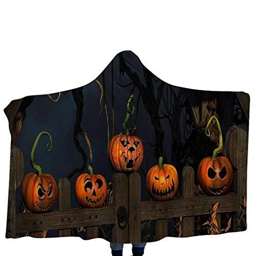 Feytuo Kinder Halloween, lustiger Deckenschal des Musters Hauptdeckenkinderdecken-mit Kapuze Schal Mantel Kostüm