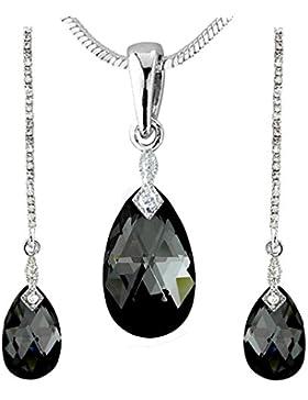Neu Swarovski Elements 14K Weißgold vergoldet schwarz & weiß Schmuckset Ohrringe und Halskette Tropfen Design...