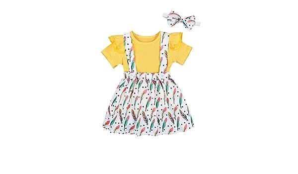 con motivo floreale Luckylife per feste e feste Set di vestiti estivi per bambina