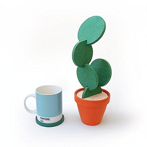 ELINKUME Set de 6 cactus Mug/café/thé sous-verres avec pot de fleur porte de table décoration cadeau créatif