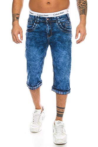 RAFF & TAFF Herren Shorts Bermuda Jeans Shorts Denim Shorts Übergrößen Big Size Basic Classic (32, TA 306) -