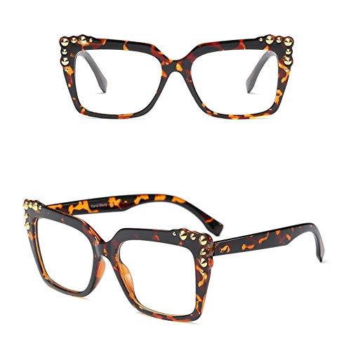 Z&HA Women's Square Optischen Rahmen Nicht-Brille, Niet Dekoration Street Beat Eyewear,Twilight
