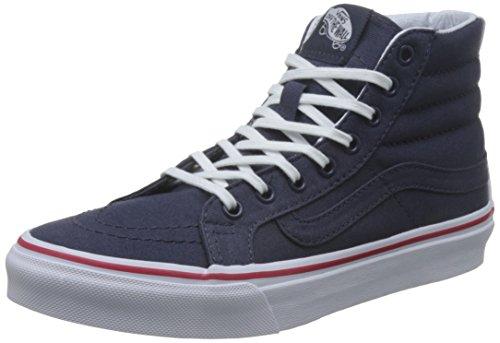 Vans Ua Sk8-Hi Slim, Sneakers Hautes Femme Bleu (Leather Canvas Parisian Night/true White)