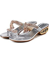 Oyamihin Verano Mujer Zapatillas Sexy Rhinestones Sandalias Zapatos Cuero PU Dama Hollow out Cuñas Zapatos Antideslizantes Suela Sandalias - Plata 39