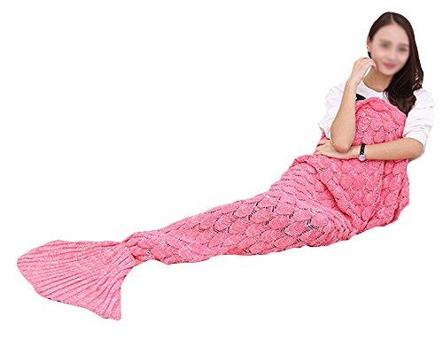 Warm und weich Meerjungfrau Schwanz Decke Handwerk Crochet Snuggle Cozy Sofa Bett Schlafsäcke Freizeit