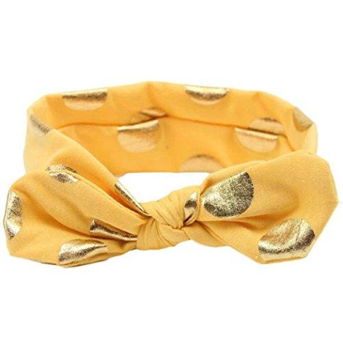 aby Mädchen Bowknot Haarband Set 3Pcs Kinder elastisches Blumen Stirnband Haarband (Bronzierender Bogen Gelb) ()