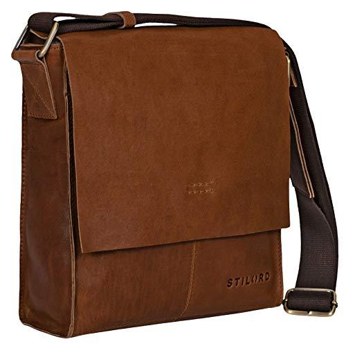 Stilord 'malte' borsa messenger piccola da uomo in pelle marrone vintage borsa a tracolla elegante borsa a mano per tablet ipad 9.7 pollici a5 in vera pelle di vacchetta, colore:mocca - marrone scuro