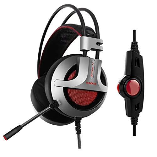 RLJJCS Gaming-Kopfhörer mit Mikrofon, Esport 7.1pc Computer-Headset, Line-Regler, Lautstärkeregler, aktive Geräuschunterdrückung Headset schwarz/silberfarben -