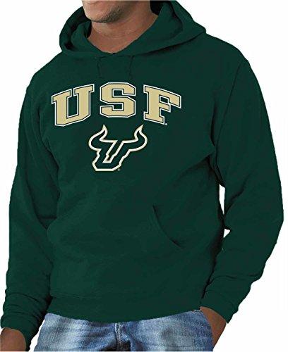 Campus Colors Campus Farben USF Bulls Erwachsene Arch & Logo Gameday Sweatshirt mit Kapuze-Grün, Herren, Grün, Small Usf Bulls
