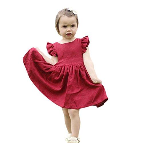❤️Elecenty Mädchen Prinzessin Kleid,Baby Solide Festzug Kleider Rüschen  Ärmel Tüllkleid Hochzeit Kleid Partykleid da58851c1f