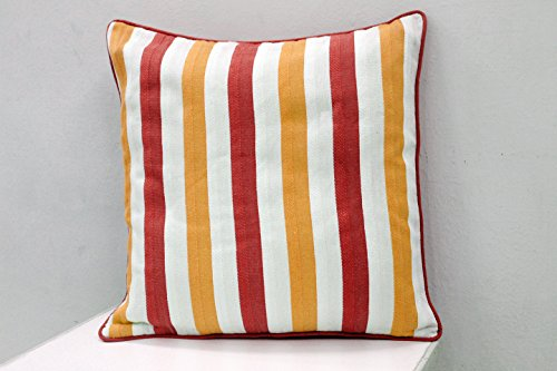 AURAVE Embossed Stripes Premium Hand woven cotton Cushion Cover - Rust & Mustard - set of two - 24 inch x 24 inch
