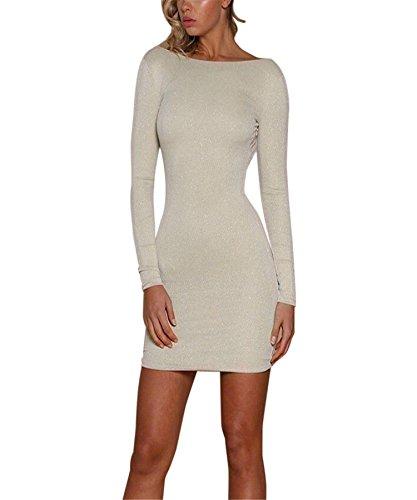 Minikleid für Damen BURFLY Backless Shiny Bodycon Kleid Damen Abend Party Club Slim Dress für Damen (S, Beige) (Halfter Stretch-rüschen Bikini)